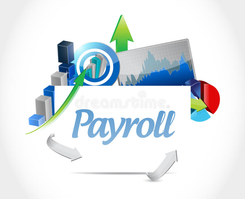 Payroll business graphs illustration. Design over a white background stock image