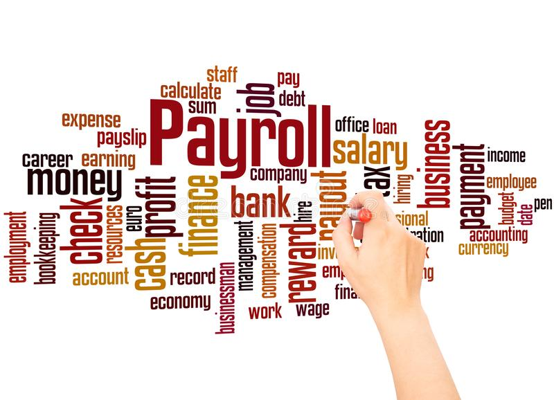 Payroll word cloud and hand writing concept. On white background royalty free stock images