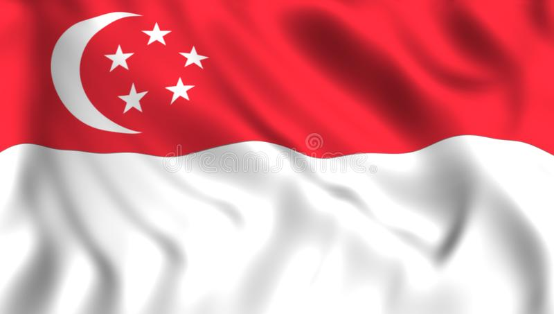 Pays asiatique de ondulation de symbole de drapeau de Singapour illustration de vecteur