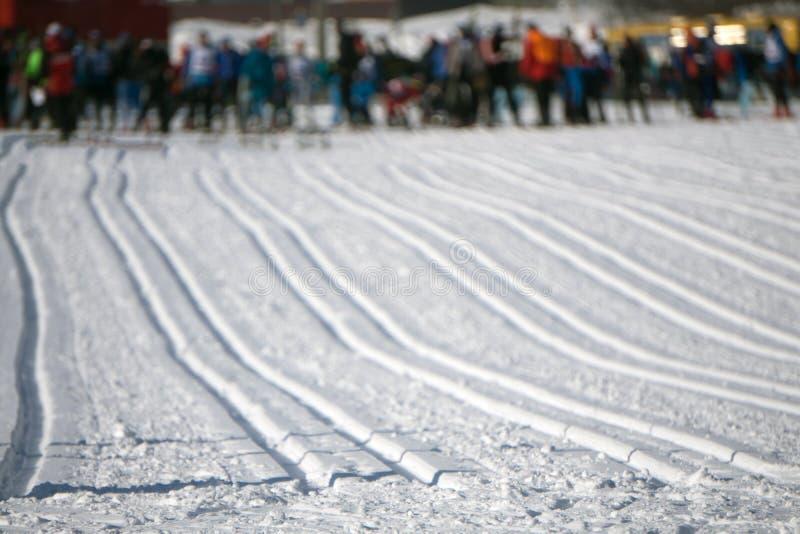Pays croisé Ski Tracks dans Engadin Suisse images libres de droits