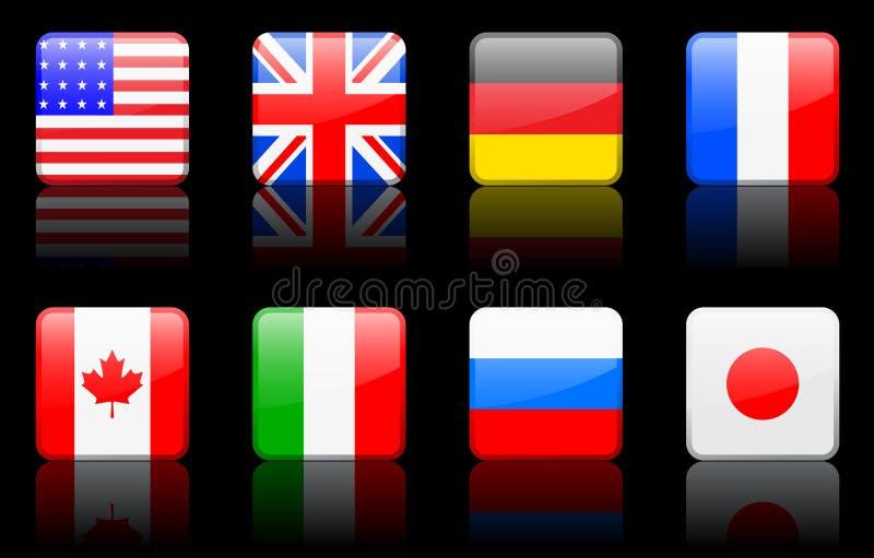 Pays de G8 de série d'indicateur du monde de série d'indicateur du monde illustration libre de droits