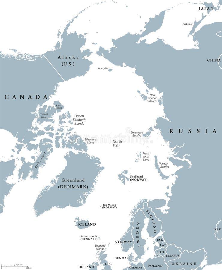 Pays de région arctique et carte politique de Pôle Nord illustration libre de droits