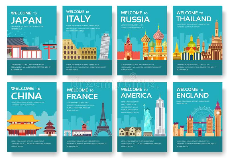 Pays des Etats-Unis, Angleterre, Chine, Frnace, cartes en liasse de la Russie, Thaïlande, Japon, Italie Voyage du monde de l'inse illustration libre de droits