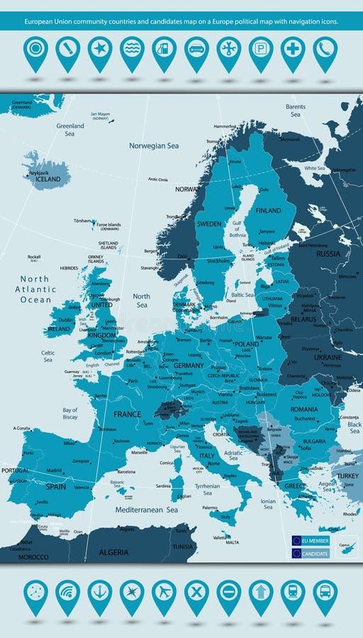 Pays et candidats de communauté d'Union européenne sur le poli de l'Europe illustration stock