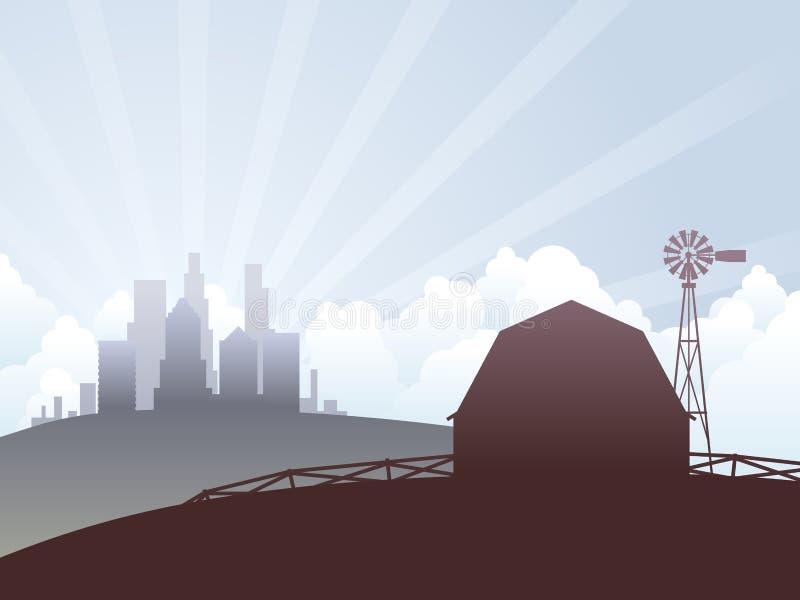 Pays et ville illustration de vecteur