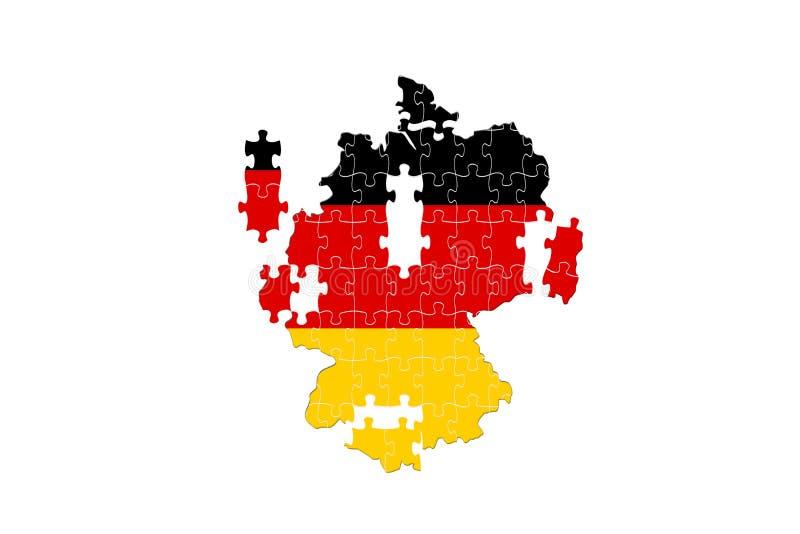 Pays européen Allemagne tombant à part puzzle sur le fond blanc illustration libre de droits