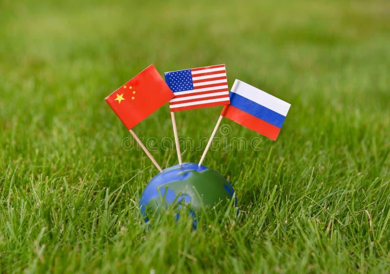 Pays image de concept de Chine, Etats-Unis, Russie de chef politique du monde photos stock