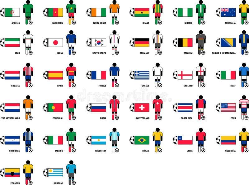 Pays jouant la coupe du monde 2014 du football du Brésil illustration de vecteur