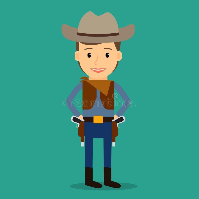 Pays occidental Garçon rectifié comme cowboy illustration de vecteur