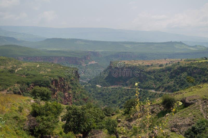 Paysage éthiopien de campagne avec le canyon, région d'Amhara image libre de droits