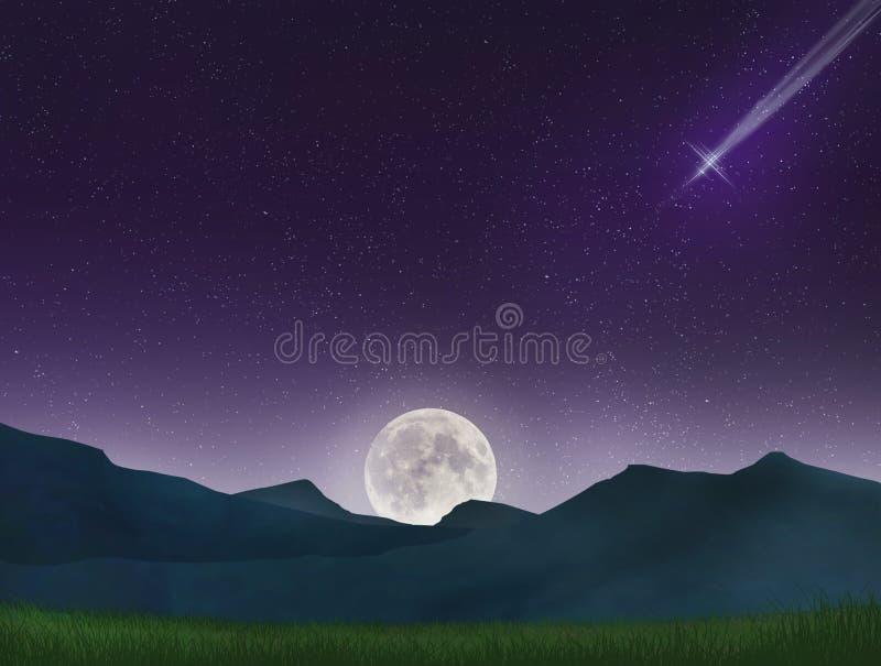 Paysage étonnant de montagne dans la perspective d'un ciel étoilé de nuit avec le fullmoon et la comète images libres de droits