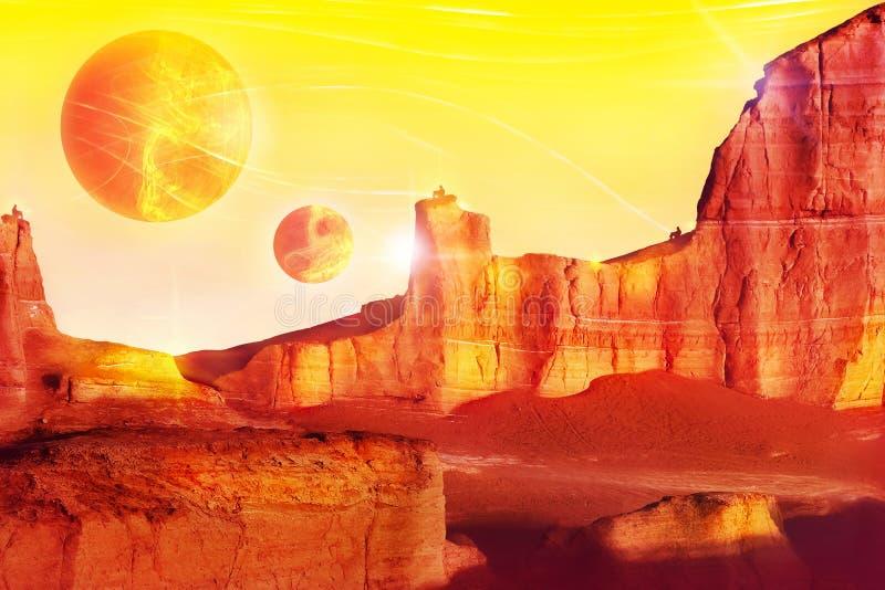 Paysage étranger dans des tons rouges Concept fantastique de conte de fées Image artistique illustration libre de droits