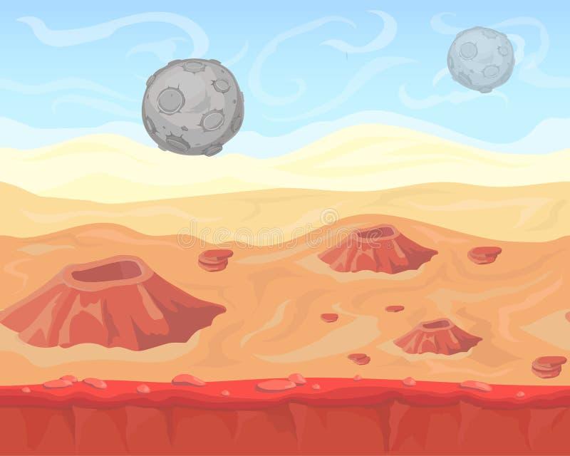 Paysage étranger sans couture de l'espace d'imagination pour le jeu illustration libre de droits