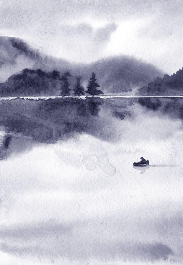 Paysage abstrait d'aquarelle, lac par temps calme au coucher du soleil images stock