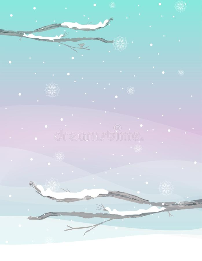 Paysage abstrait d'hiver dans des tons verts et pourpres en bon état photos stock