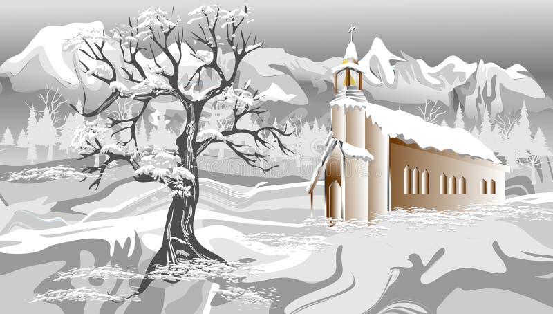 Paysage abstrait de Noël de vecteur avec la neige Illustration de vecteur illustration libre de droits