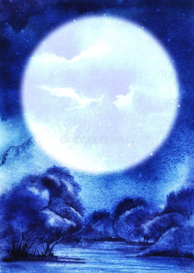 Paysage abstrait de nuit d'aquarelle dans des tons bleus Une lune blanche énorme au-dessus des bosquets épais des buissons luxuri illustration de vecteur