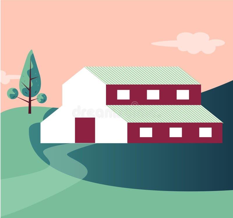 Paysage agricole de maison de ferme de côté de pays illustration libre de droits