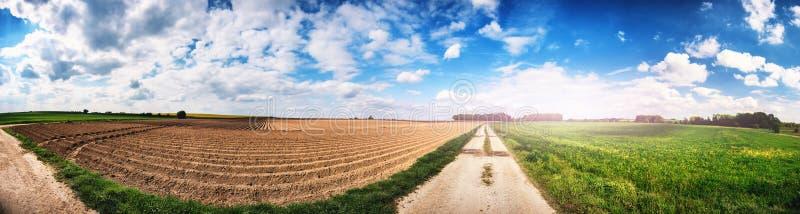 Paysage agricole panoramique avec le champ labouré image stock