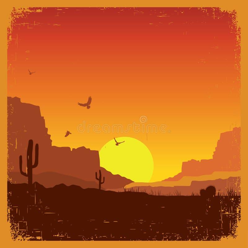 Paysage américain occidental sauvage de désert sur la vieille texture illustration de vecteur