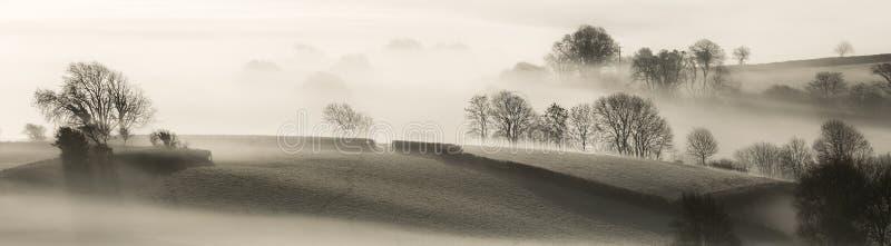 Paysage anglais dans la brume de matin photographie stock