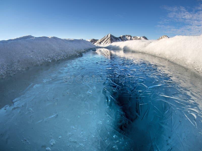 Paysage arctique de lac de glacier - le Svalbard, le Spitzberg image libre de droits