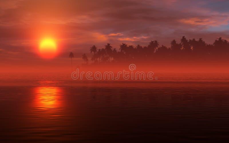Paysage ardent de tropique de coucher du soleil illustration libre de droits