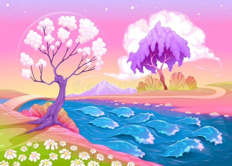Paysage astral avec les arbres et la rivière illustration de vecteur