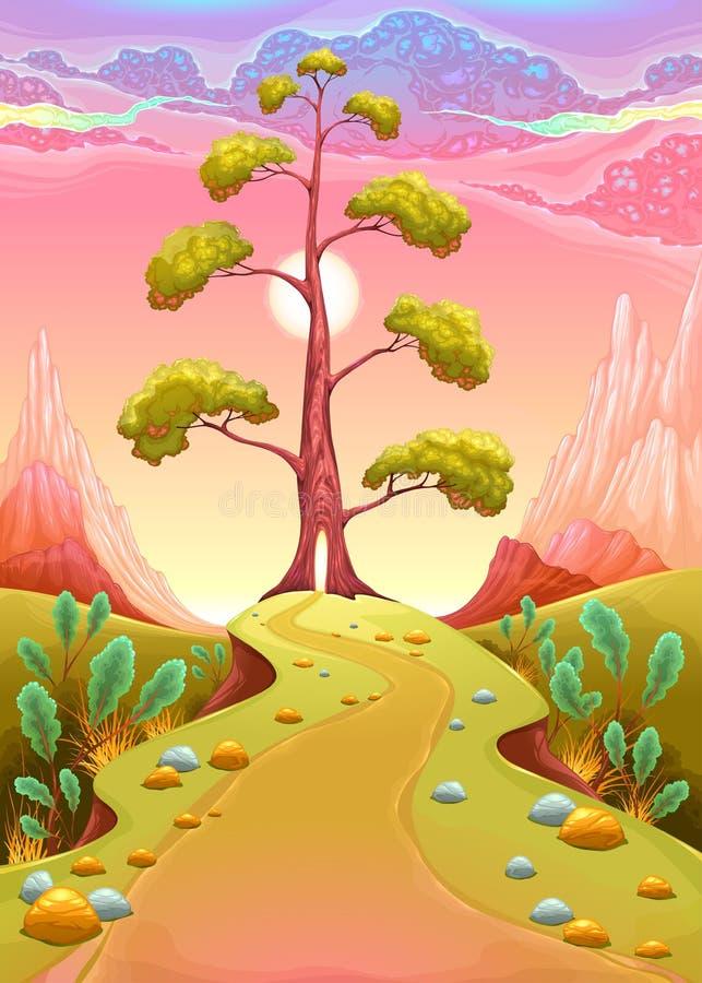 Paysage astral dans le coucher du soleil illustration de vecteur