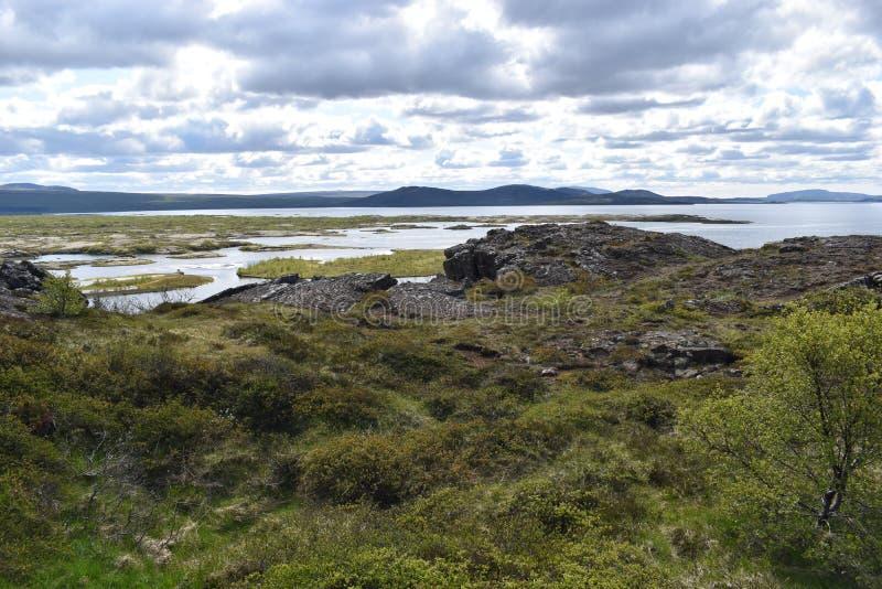 Paysage au parc national de Thingvellir près de Reykjavik au cercle d'or en Islande photos stock