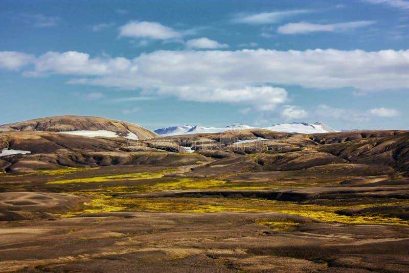 Paysage avec de la mousse en Islande Montagne et secteur volcanique image libre de droits