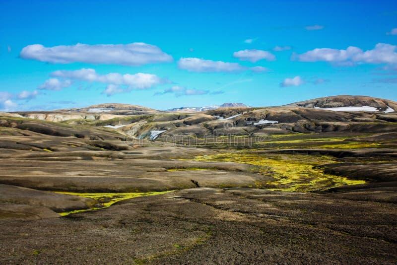Paysage avec de la mousse en Islande Montagne et secteur volcanique images stock