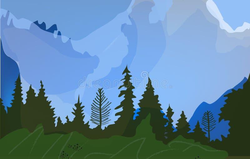 Paysage avec des arbres, des collines et le champ pour le tourisme Illustration de vecteur illustration stock