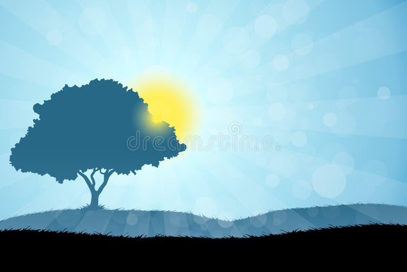 Paysage avec l'arbre illustration libre de droits