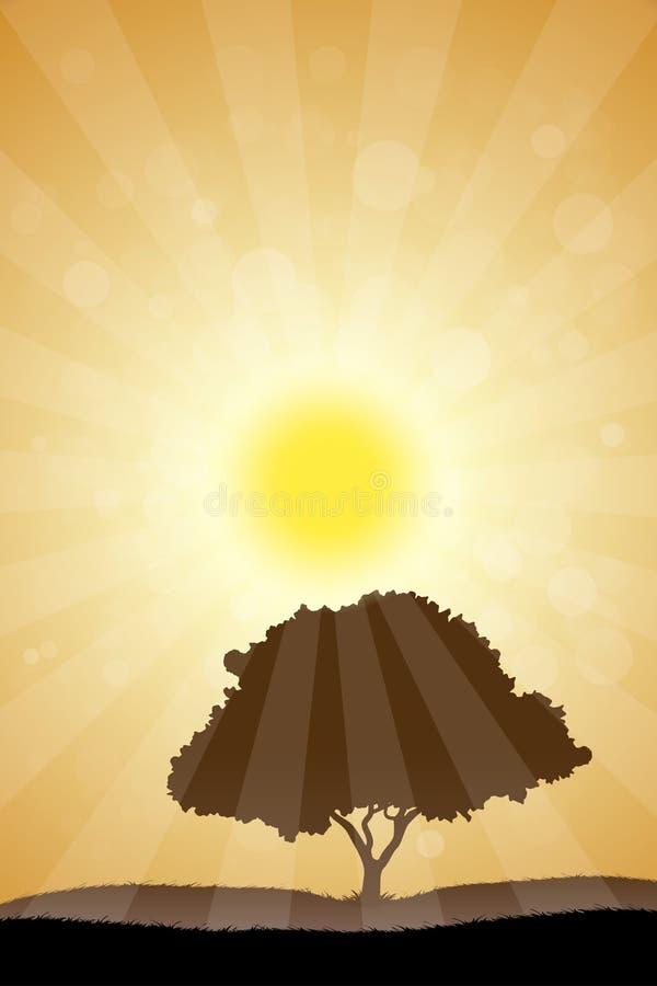 Paysage avec l'arbre illustration de vecteur
