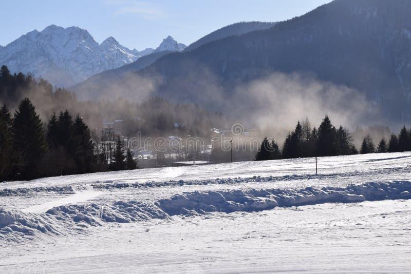 Paysage avec la neige en Forni di Sopra photographie stock libre de droits