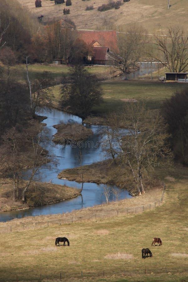 Paysage avec la rivière Brenz photos stock