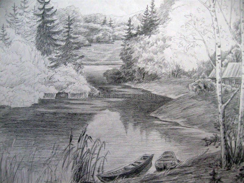 Paysage De Dessin En Parc Avec Noir Et Blanc Illustration