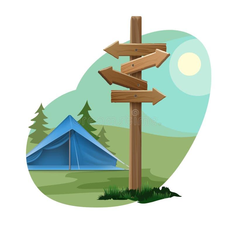Paysage avec la zone de camping illustration de vecteur