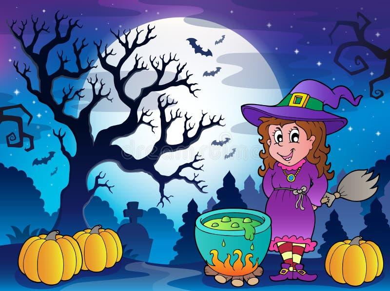Paysage avec le caractère 3 de Halloween illustration de vecteur