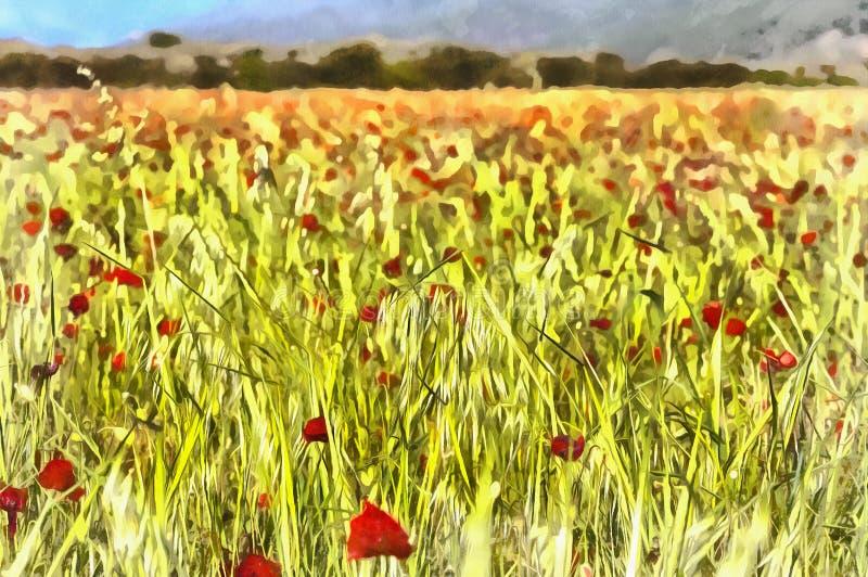 Paysage avec le champ rouge de pavots illustration de vecteur