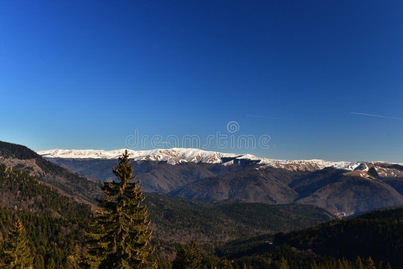 Paysage avec le ciel bleu et les montagnes couronnées de neige photo stock