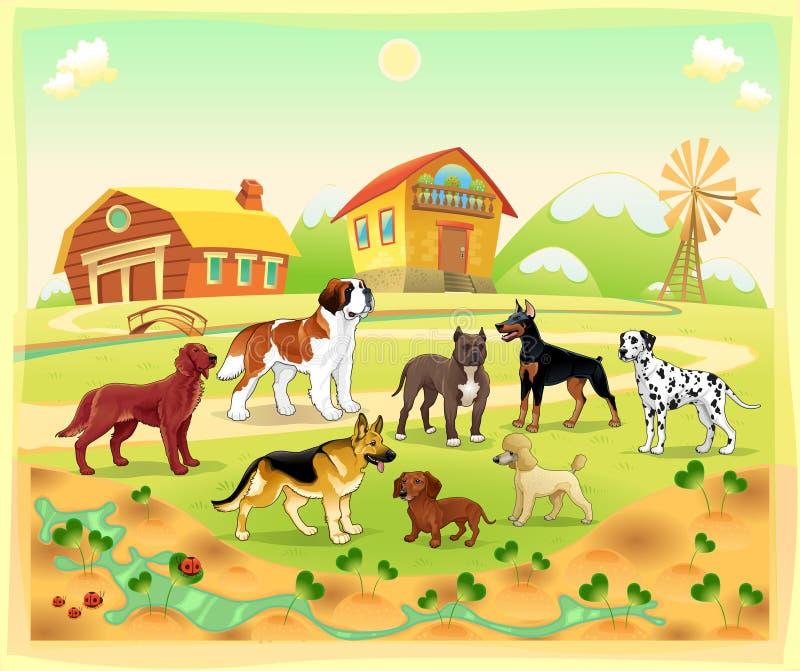 Paysage avec le groupe de chiens illustration de vecteur