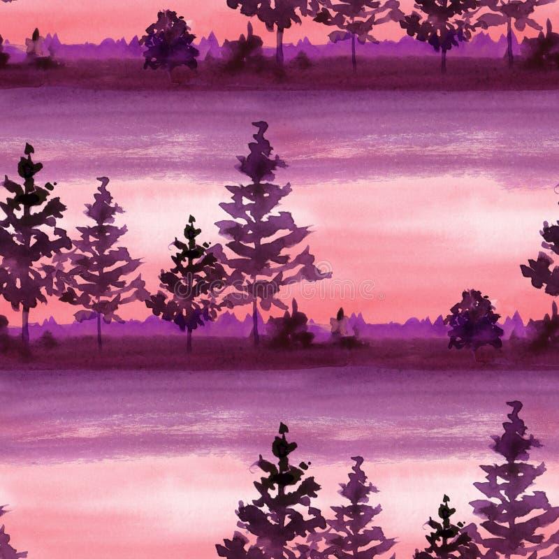 Paysage avec le modèle sans couture 10 de forêt illustration libre de droits
