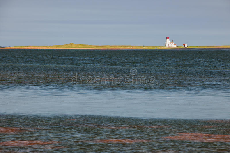 Paysage avec le phare sur prince Edward Island photo stock