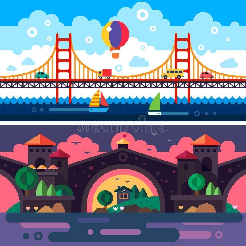 Paysage avec le pont illustration de vecteur
