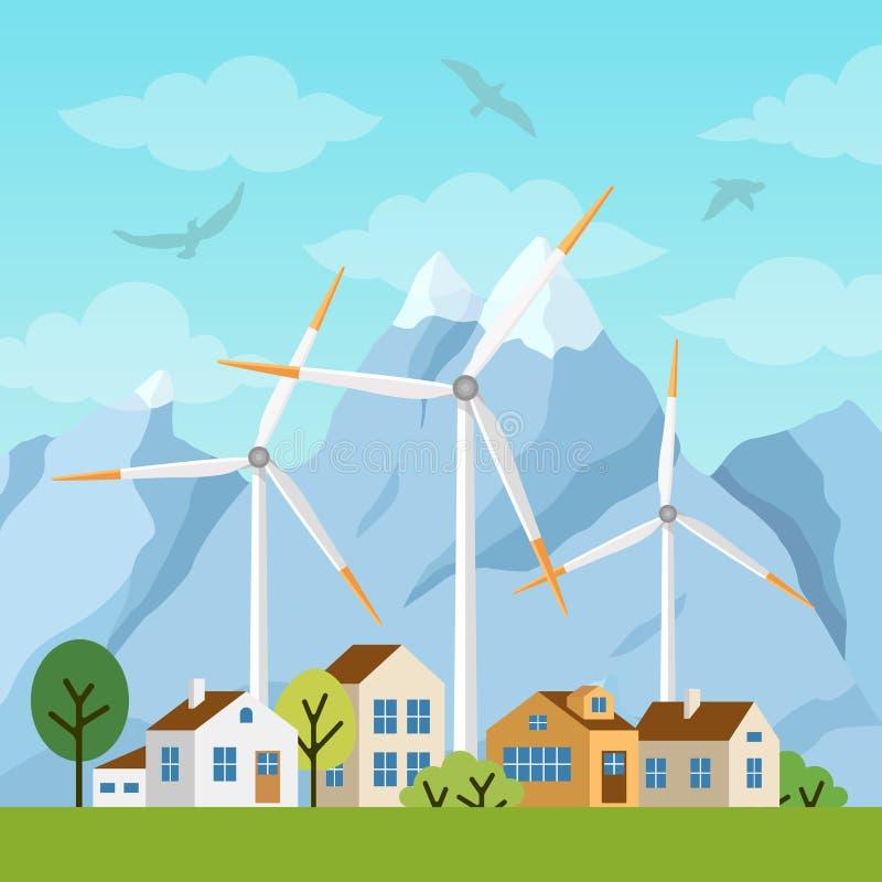 Paysage avec les maisons et les moulins à vent privés illustration libre de droits