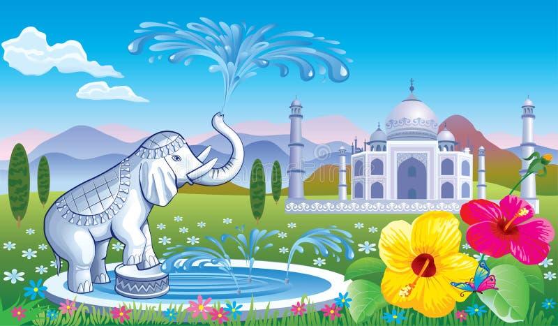 Paysage avec une fontaine l'éléphant illustration de vecteur