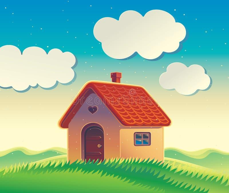 Paysage avec une maison et des collines illustration de vecteur