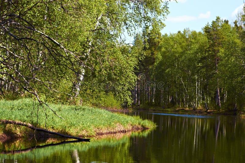 Paysage avec une rivière près des cottages images libres de droits